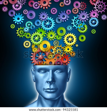 Human imagination and creative man as the intelligent brain with a front facing head that has rainbow spectrum colored gears and cogs exiting the mind as an artistic design thinking in business.