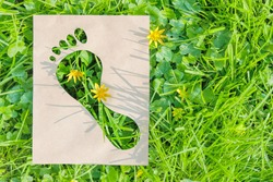 Human impact on nature, ecology, protection of natural environment, earth day concept. Ecological footprint made of recyclable paper over green grass. Copy space