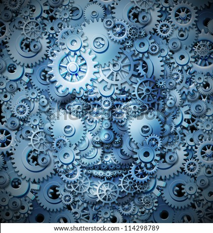 Human intelligence and creativity with a front view of a head and face made of gears and cogs merging with a similar background as a business and mental health care concept for thinking function.
