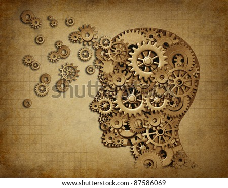 Human intelligence brain function with grunge texture made of machine cogs and gears representing education and teaching of strategy and psychological mental neurological activity.