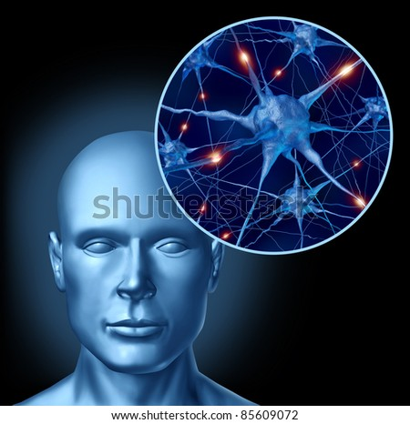 Human intelligence brain medical symbol represented by a close up of active neurons and organ cell activity by neurotransmitters showing intelligence with memory and healthy cognitive thinking.
