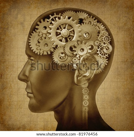 Human intelligence with grunge texture made of cogs and gears representing strategy and psychological mental neurological activity. - stock photo