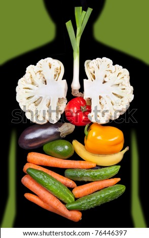 human internal organs lined with vegetables - stock photo