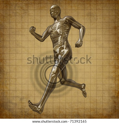 Human knee pain running man skeleton x-ray visual bone grunge old parchment document health fitness exercise chart symbol