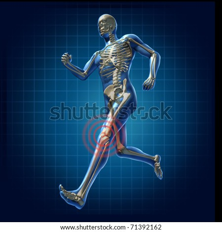 Human knee pain running man skeleton x-ray visual bone health fitness exercise chart symbol