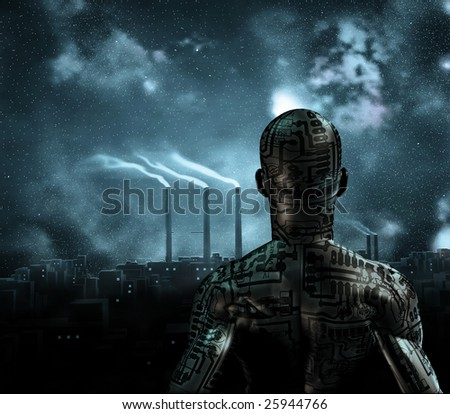 Human like figure stands before grime city