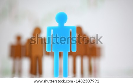 Human line with one notable brave person with rare personal quality step forward in front of row for represent and defend his group closeup #1482307991