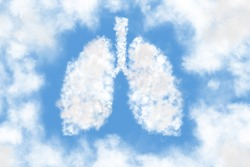 Human lungs shaped as a cloud on blue sky background. Cloudy in the shape of lungs. The bright sky is our lungs. World Pneumonia Day. World Tuberculosis Day.