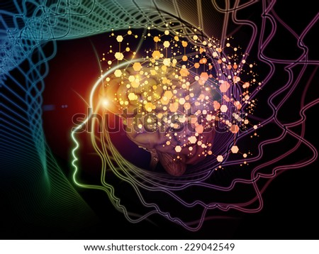 Human Mind series. Creative arrangement of brain, human outlines and fractal elements to act as complimentary graphic for subject of technology, science, education and human mind