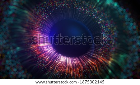 Human multicolored iris of the eye animation concept. Rainbow lines after a flash scatter out of a bright white circle and forming volumetric a human eye iris and pupil. 3d rendering background in 4K.