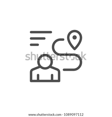 Human navigation line icon isolated on white