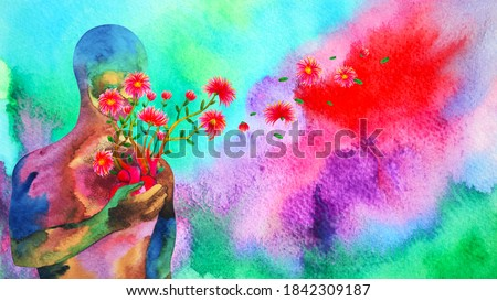 human red heart healing flower flow in universe love spiritual mind mental health chakra power abstract soul art watercolor painting illustration design drawing