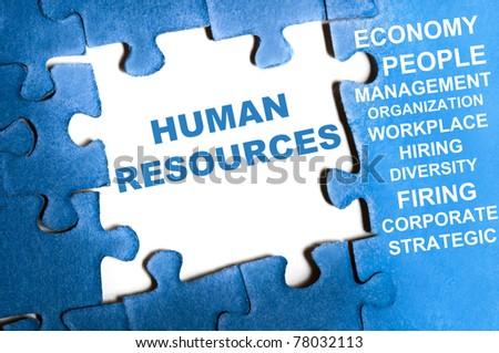 Human resource blue puzzle pieces assembled