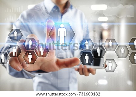 Human resource management, HR, recruitment, leadership and teambuilding. Business and technology concept. #731600182