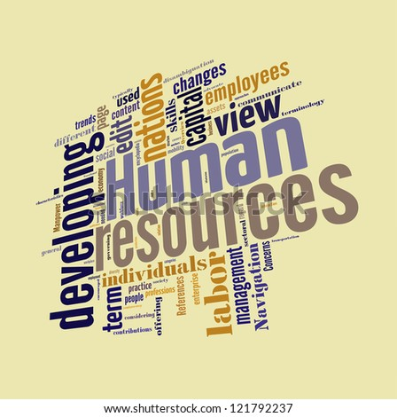 Human Resource word cloud  isolated in white background