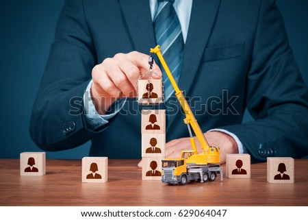 Human resources build team, hire and recruitment concepts. Recruiter complete team by leader (CEO). #629064047