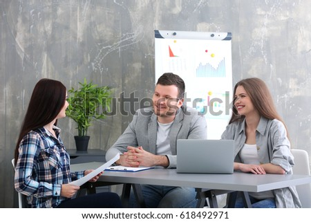 Human resources commission interviewing woman in office #618492971