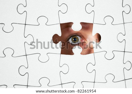 Human Resources concept: Business person through missing jigsaw puzzle - stock photo