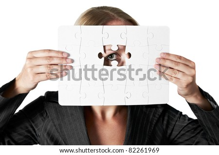 Human Resources concept: Business person through missing jigsaw puzzle