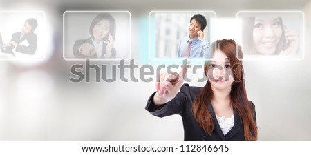 Human Resources concept, hand finger choosing perfect male employees options by touch button