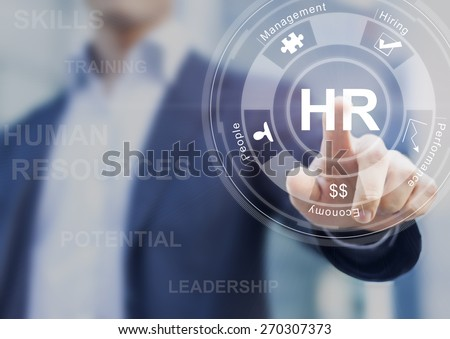 Human resources concept with manager in office touching white board computer interface about skills, training and performance #270307373