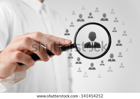 Human resources, CRM, data mining, assessment center and social media concept - officer looking for employee represented by icon.