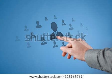 Human resources CRM social network and data mining concept