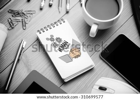 human resources doodle against notepad on desk