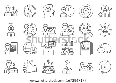 Human Resources, head hunting line icons. Business networking contract, Job Interview and Head Hunting contract icons. CV, Teamwork and Portfolio symbols. Business career, human, interview.