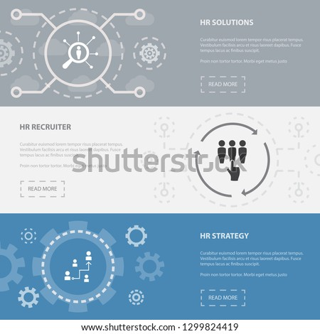 Human Resources 3 horizontal webpage banners template with hr solutions, hr recruiter, hr strategy concept. Flat modern isolated icons illustration.