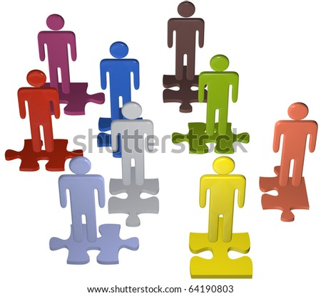 Human resources issues and other people concepts as 3D stick figure symbols on jigsaw puzzle pieces.