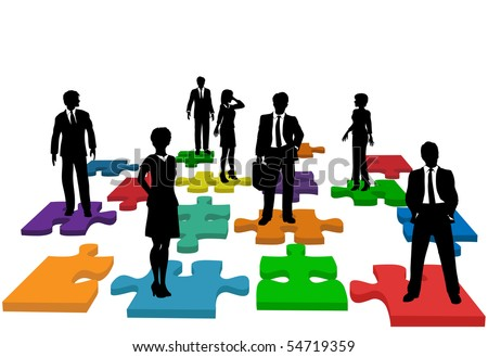 Human resources issues and other people issues and solutions with people on jigsaw pieces, which actually form a puzzle.