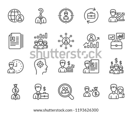 Human Resources line icons. Set of Business Networking, Job Interview and Head Hunting signs. CV, Teamwork and Portfolio symbols. Quality design element. Classic style. Editable stroke.  #1193626300
