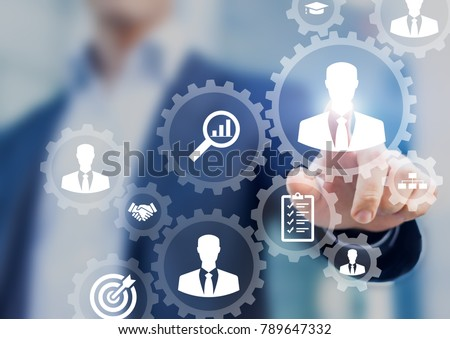 Human resources management and recruitment business process concept with HR manager selecting candidate for hiring