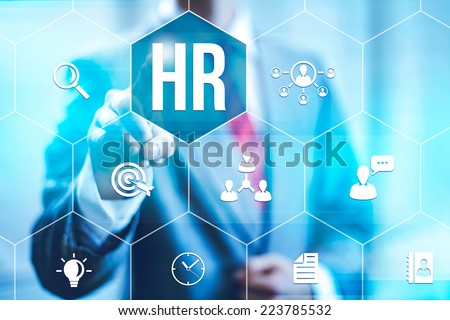 Human resources management concept business man selecting virtual interface