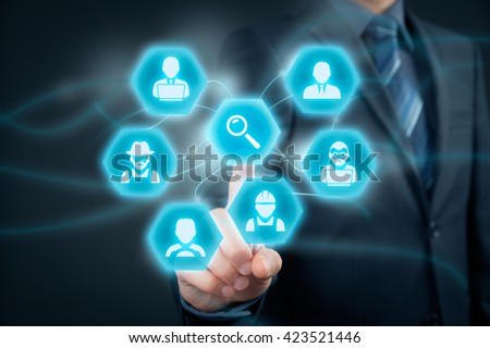 Human resources officer looking for employees. Personnel agent click to loupe to find employees represented by icons: manager, white collar worker, programmer, analyst, farmer, driver, manual worker.