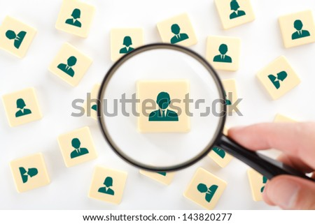 Human resources, personal audit, assessment center and sales force concept - recruiter look for employee represented by icon.