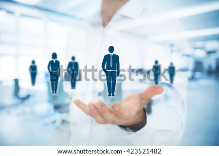 Human resources pool, customer care, care for employees, labor union, life insurance, employment agency and marketing segmentation concepts. Gesture of man and icons representing group of people.