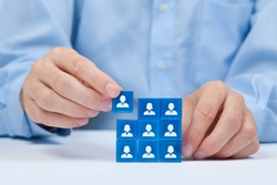 Human resources, sales force, social networking, assessment center, personal audit or CRM concept - recruiter complete team by one person. Employees are represented by blue glass cubes with icons.