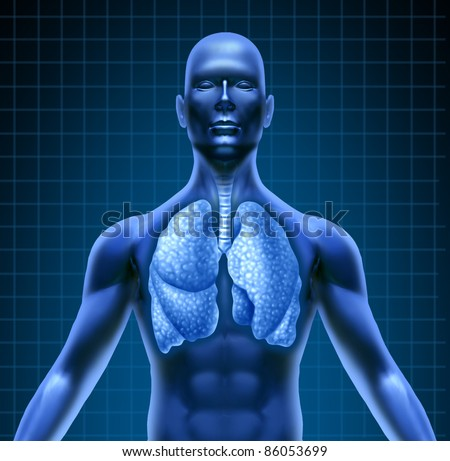 Human respiratory system represented by a blue human figure with lungs showing the medical health care required for lung patients of cancer and other disease.