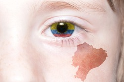 human's face with national flag and map of ecuador. concept