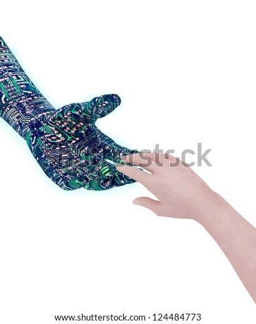 Human's hand touching robot's hand