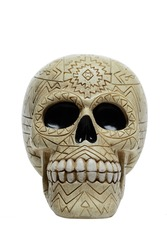 Human scull with carved ornament isolated on white