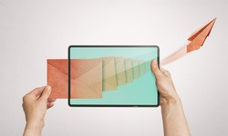 Human sends a letter via digital tablet. Concept of business correspondence, feedback, advertising via internet.