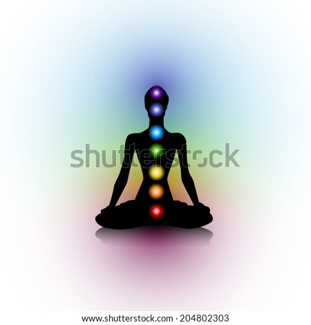 Human silhouette with chakras #204802303