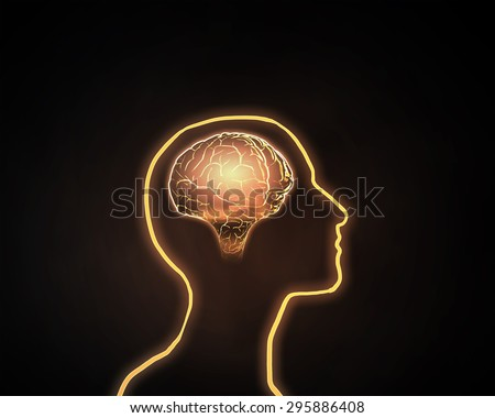 Human silhoutte and brain in his head