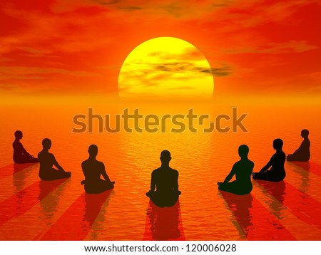 Human sitting in lotus position and meditating in front of the sun by beautiful sunset