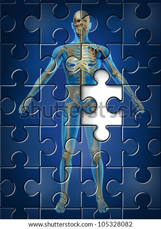 Human skeleton disease and osteoporosis of the hip bone concept with a puzzle texture and a missing piece as a medical and health care symbol of orthopedic and aging deterioration illness.