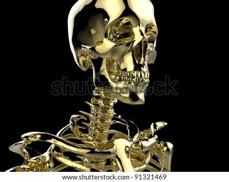 Human skeleton made of gold