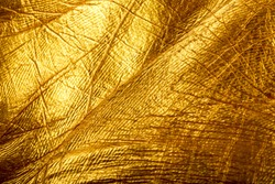 Human skin is covered with gold paint. Texture of human skin closeup for your design.